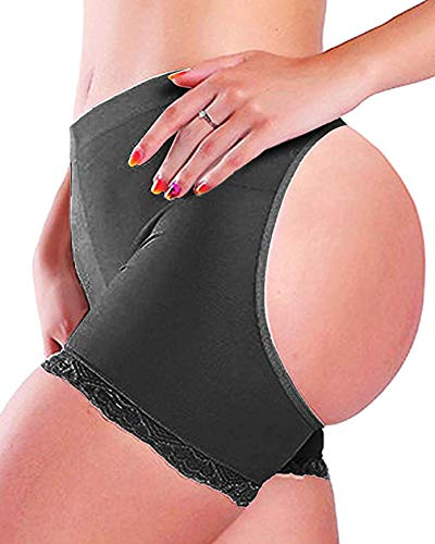 Women Butt Lifter Body Shaper Tummy Control Panties Enhancer Underwear Girdle Booty Lace Shapewear Boy Shorts Seamless (Black, XL)