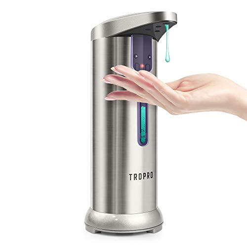 Soap Dispenser, TROPRO Automatic Sensor Touchless Liquid Soap Dispenser Pump, Dish Hands-free for Bathroom, Kitchen with Waterproof Base & Semi Transparent Window [2020 Version Leak-Proof]