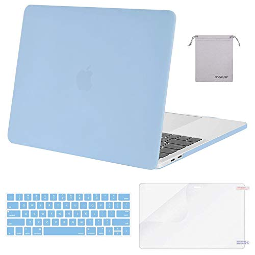 MOSISO MacBook Pro 13 inch Case 2019 2018 2017 2016 Release A2159 A1989 A1706 A1708, Plastic Hard Shell Case&Keyboard Cover&Screen Protector&Storage Bag Compatible with MacBook Pro 13, Airy Blue