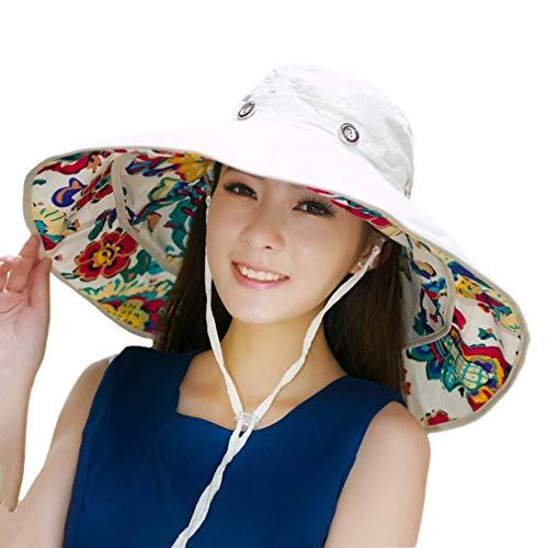 Packable Extra Large Brim Floppy Sun Hat Reversible UPF 50+ Beach Sun Bucket Hat Beige