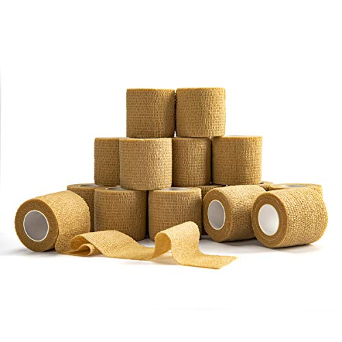 Self Adherent Cohesive Wrap Bandages (16-Pack) Bundle - 2inch-Wide 5yds Self Adhesive Non Woven Bandage Rolls -Brown Athletic Tape for Wrist - Breathable Athletic Tape - Stretch Wrap Roll