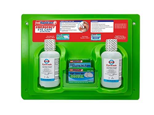 Rapid Care First Aid 665-16 Eye Wash & Eye Care Station, FDA Compliant, 2 x 16oz Sterile Isotonic Eye Wash Bottles, Eye Care Kit, Eye Drops, Wall Mountable, 19.5' x 14.5' x 5.0'