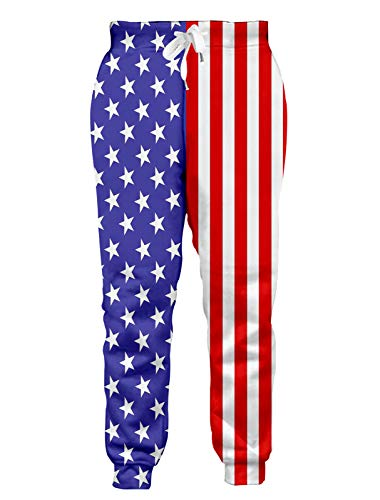 RAISEVERN Men Women American Flag 3D Printed Jogger Pants Casual Sports Graphic Sweatpants With Drawstring Pockets Large,2017 Style 3,Large