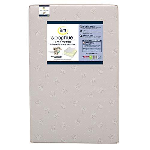 Serta SleepTrue 4-Inch Mini Crib Mattress with 100% Cotton Fitted Crib Sheet   Waterproof   Lightweight   GREENGUARD Gold Certified (Natural/Non-Toxic)   1 Year Warranty