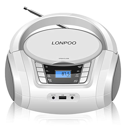 LONPOO Stereo Portable CD Player Boombox Crystal-Clear Sound, Stereo Sound System with Bluetooth FM Radio and Aux Line-in, LED Display and USB/Headphone Jack (White)