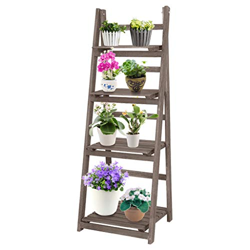 XGao 4 Tier 45' Foldable Ladder Shelf, Plant Stand, Indoor Flower Pot Stands, Folding Display Shelves, Free Standing Racks, Patio Wood Planters Shelving Unit for Outdoor (Brown 44.3x13.7x16.5in)