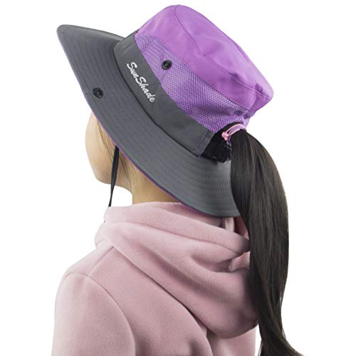 Muryobao Toddler Child Kids Girls Summer Sun Hat Wide Brim UV Protection Hats Floppy Bucket Cap for Beach Fishing Gardening Purple