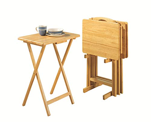 PJ Wood Folding TV Tray Table & Snack Table with Storage Rack, Natural - 5 Piece Set