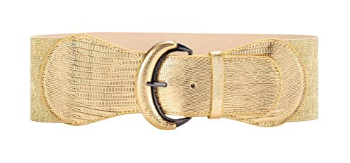 VOCHIC PU Leather Elastic Gold Wide Belt for Women Ladies Dress Stretch Thick Waist Belts