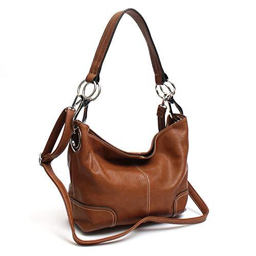 Janin Handbag Bucket Style Hobo Shoulder Bag with Big Snap Hook Hardware
