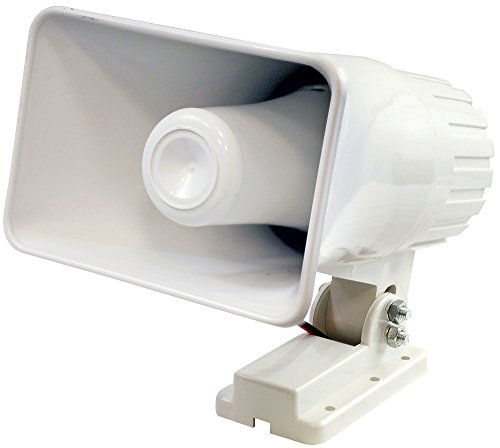 """Indoor / Outdoor PA Horn Speaker - 6"""" Portable PA Speaker with 8 Ohms Impedance & 50 Watts Peak Power - Mounting Bracket & Hardware Included - Pyle PHSP4 White"""