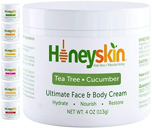Manuka Honey Cream Face Moisturizer and Body Lotion - Eczema Honey Organic Moisturizing Cream - Dry Itchy Sensitive Skin - Face Lotion for Redness Eczema and Rosacea - Tea Tree Cucumber Scent (4oz)
