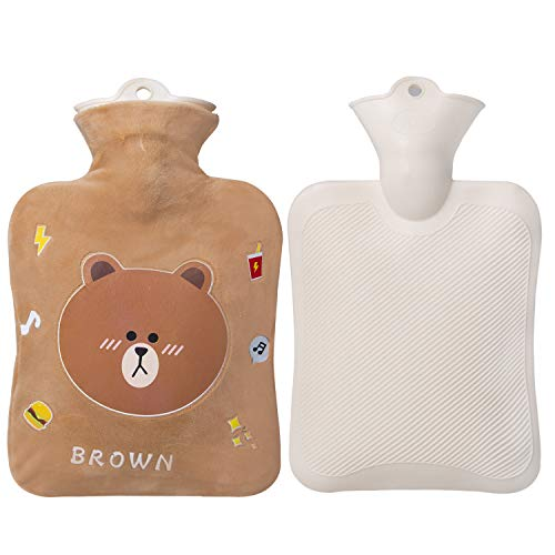 Hot Water Bottle, 1 Liter Water Bag with Cute Fleece Cover, Brown Bear