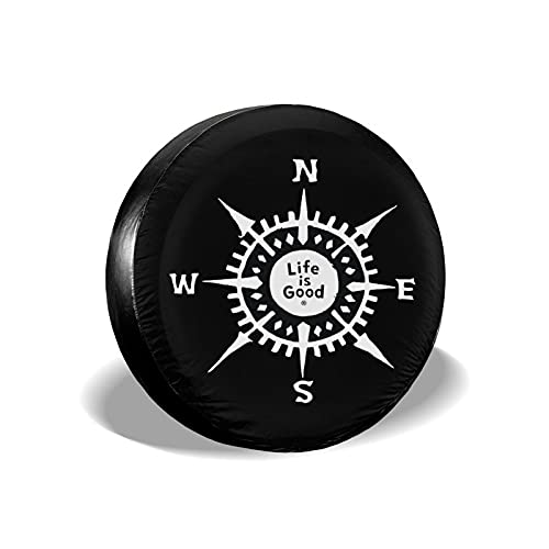 AoHanan Life is Good Compass Spare Tire Cover Waterproof Dust-Proof Uv Sun Car Wheel Tire Cover Fit for Jeep,Trailer, Rv, SUV and Many Vehicle (14, 15, 16, 17 Inch)