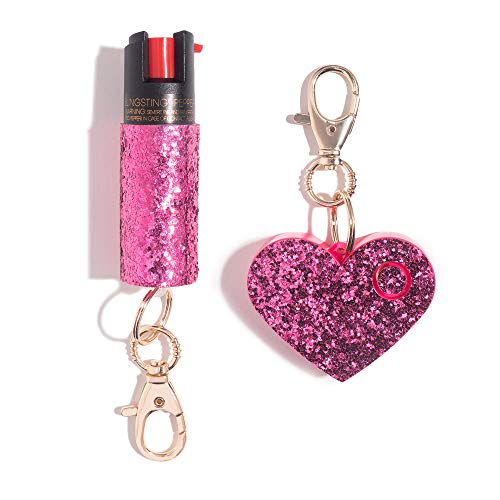 Super-Cute Self Defense Kit - Professional Grade, Maximum Strength Pepper Spray with UV Marking Dye & Personal Safety Alarm - Pink & Pink