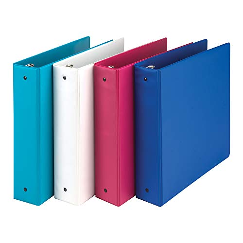 Samsill Fashion Color 3 Ring Storage Binders, 2 Inch Round Ring, Assorted Colors May Vary (Blue Coconut, White, Dragon Fruit, Blueberry), Bulk Binders - 4 Pack (MP21698)