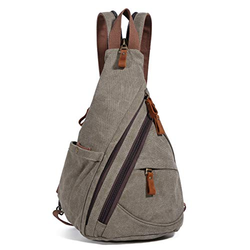 Canvas Sling Bag - Small Crossbody Backpack Shoulder Casual Daypack Rucksack for Men Women Outdoor Cycling Hiking Travel (6881-Olive Green)