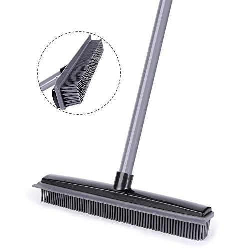 NZQXJXZ Push Broom, Soft Bristle Rubber Sweeper Squeegee Edge with 59 inches Adjustable Long Handle, Non Scratch Bristle Broom for Pet Cat Dog Hair Carpet Hardwood Floor Tile Windows Cleaning (Black)