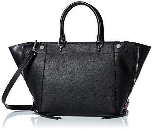 Calvin Klein womens Calvin Klein Doris Saffiano Leather Trapeze Top Zip Satchel, black/silver, One Size
