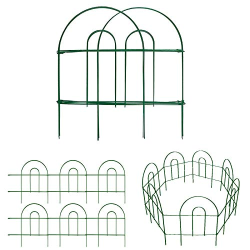 Amagabeli Decorative Garden Fence 18in x50ft Rustproof Green Iron Landscape Wire Folding Fencing Ornamental Panel Border Edge Section Edging Patio Flower Bed Animal Barrier for Dog Outdoor Fences FC02
