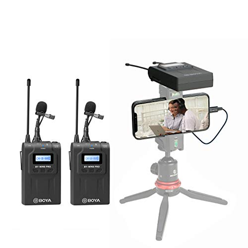 Wireless Lavalier Microphone System for iPhone 11 8 x 7 6 Camera, BOYA Dual-Channel 2 Transmitter & 1 Receiver for DSLR Recorder Samsung Smartphone Youtube Street Interview Facebook Livesteam Vblog