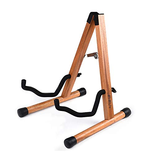 MIMIDI Guitar Stand, Foldable A-Frame Wood Stand Holder, Electric Guitar Stand for Acoustic Guitar, Bass,Banjo Guitar, Guitar Accessories