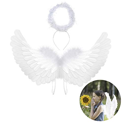 Angel Wings Angel Halo Kids Angel Wings and Halo White Angel Wings for Kids Angel Costumes for Girls Boys Child Feather Wings Halloween Christmas Angel Costume Wings(Angel Wings & Headband Halo)