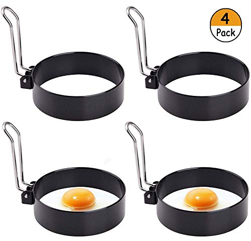 Egg Ring, Stainless Steel Egg Mold, Round Egg Ring Mold, Non Stick Cooking Rings Egg Shaper Pancake Ring Omelet Mold Kitchen Cooking Tool for Fried Egg Biscuits Sandwiches (4 Pack)