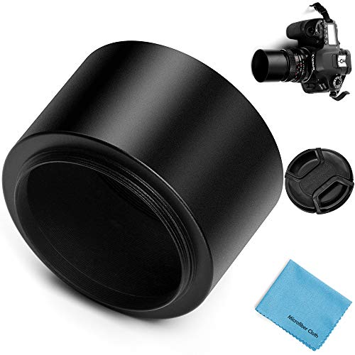 49mm Tele Metal Screw-in Lens Hood Sunshade with Centre Pinch Lens Cap for Canon Nikon Sony Pentax Olympus Fuji Sumsung Leica Camera + Cleaning Cloth
