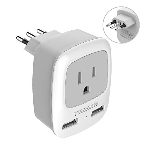 Italy Travel Power Adapter, TESSAN 3 Prong Grounded Plug with Dual USB Charging Ports, Type L Outlet Adaptor Charger for USA to Italy Uruguay Chile Italian