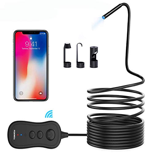 Endoscope Inspection Camera, FOXWELL 5.5mm Wireless Borescope with 1080P HD Semi-Rigid Snake Camera for Android and iOS Smartphone, iPhone, Samsung, Tablet - 16.5FT