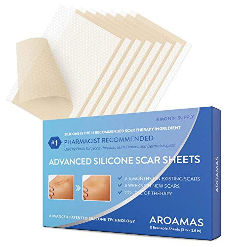Aroamas Professional Silicone Scar Sheets, Soften and Flattens Scars Resulting from Surgery, Injury, Burns, Acne, C-section and more, Soft Silicone Scar Strips, 3'×1.57', 8 Sheets (4 Month Supply)