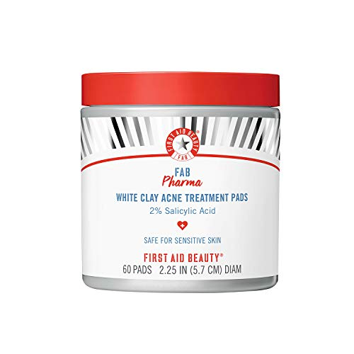 First Aid Beauty FAB Pharma White Clay Acne Treatment Pads 2% Salicylic Acid, Treatment for Breakouts, Whiteheads, Blackheads and Acne