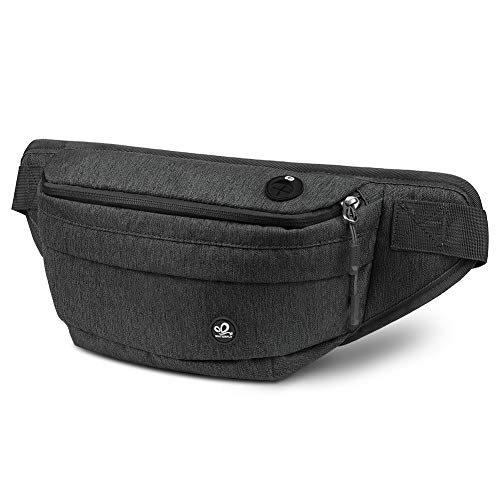WATERFLY Fanny Pack for Men women water resistant hiking waist bag pack for running walking traveling (Black)