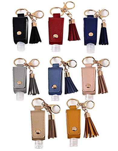 DKKLRR Travel Bottles Keychain Holder 8 Pieces/Set 30ML Empty Refillable Bottles Hand Sanitizer Leather Keychain Holder Refillable Container Flip Bottle With Tassel Carrier