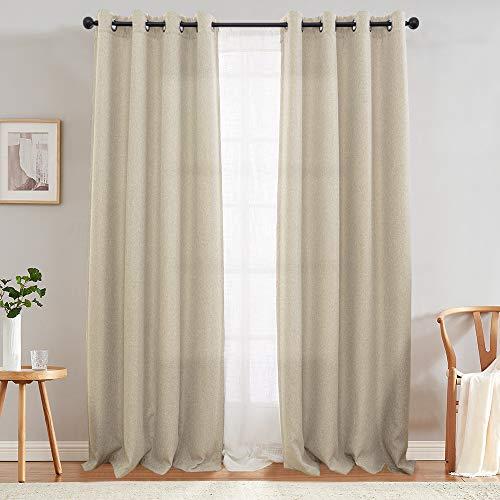 jinchan Curtain for Bedroom Linen Textured Room Darkening Drape 84 inch Long Living Room Curtain in Greyish Beige One Panel