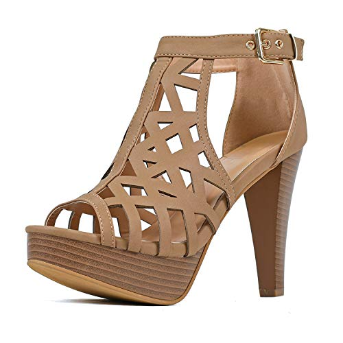 Guilty Shoes - Womens Cutout Gladiator Ankle Strap Platform Fashion High Heel Sandals Heeled Sandals, Tanv3 Pu, 6.5 M US