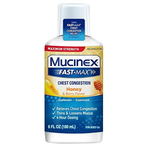 Mucinex Fast-Max Maximum Strength Chest Congestion, Symptom Relief, Expectorant, Honey & Berry Flavor, 6 FL OZ