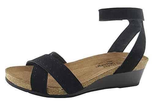 NAOT Footwear Women's Wand Black Velvet Nubuck/Glass Brown Sandal 7 M US