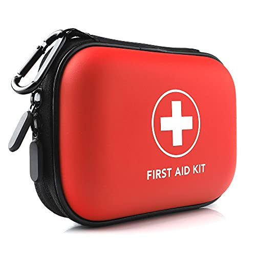 Alysontech Mini First Aid Kit, 100 Pieces Small Water-Resistant Hard Shell Case - Perfect for Travel, Outdoor, Home, Office, Camping, Hiking, Car (Red)
