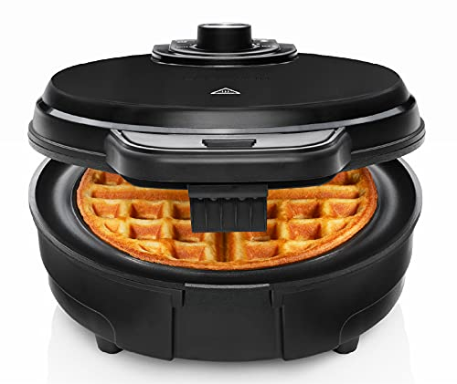 Chefman Anti-Overflow Belgian Waffle Maker w/Shade Selector, Temperature Control, Mess Free Moat, Round Iron w/Nonstick Plates & Cool Touch Handle, Measuring Cup Included, Black