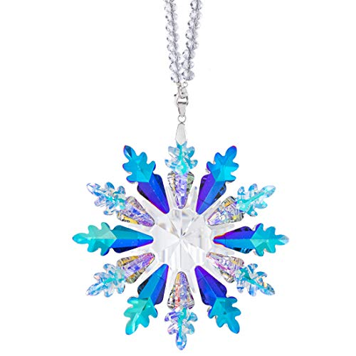 Qf Crystal Snowflake Pendant 2020 Edition,Glass Hanging Ornament with Color Ribbon and Gift Box(7-Color)