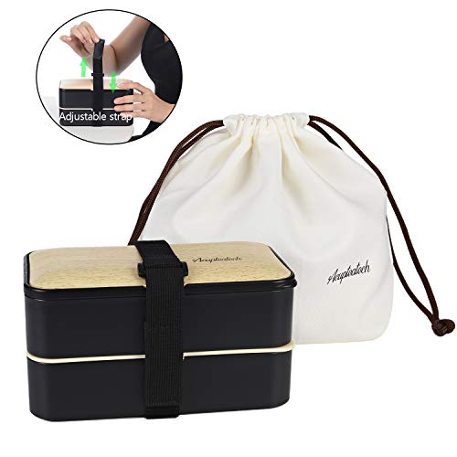 Bento Box Lunch Box with Upgraded Adjustable Strap, 2-Tier Japanese Bento Box Adult Stackable Leakproof BPA-Free 1200ml Lunch Containers with Cutlery Lunch Bag-Bamboo Black