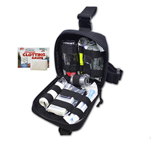 Lightning X Pre-Stocked Drop Leg IFAK Trauma Kit w/MOLLE Bleed Stop Gunshot Wound Care w/QC - Black