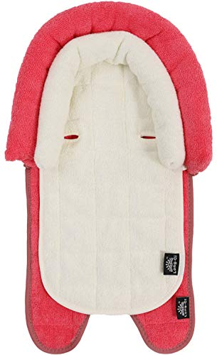 Long-Ci 2-in-1 Baby Insert Cushion Pad with Head Neck Body Support Pillow in Plush Terry for Newborn (Red Beige)