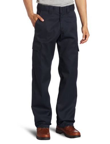 Dickies Men's Relaxed Straight Fit Cargo Work Pant, Dark Navy, 36x32