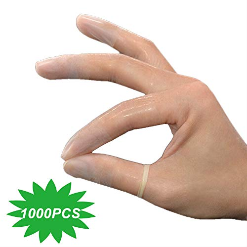 Latex Finger Cots Anti-Static Incision Frosted Finger Cot Dust-Free Non-Slip Transparent Finger Cot (Bag of 1000 Pieces)