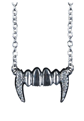 Loftus International Gothic Chic Vampire Fangs Necklace, Silver, One Size