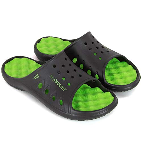 PR SOLES Recovery Sandals | Sports Glides for Men and Women | Great for Athletes | Black/Neon Green, XXL | (M) 12 - 13