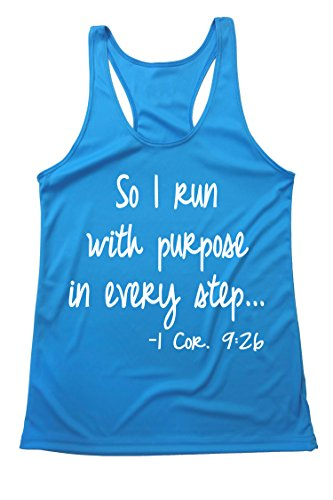 Biblical Marathon Runners Thank Top – Women Running Racer Back -SO I Run with Purpose in Every Step Turquoise-White